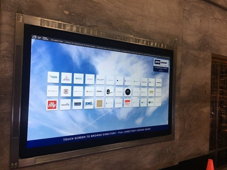 metroclick digital touch screen directory system
